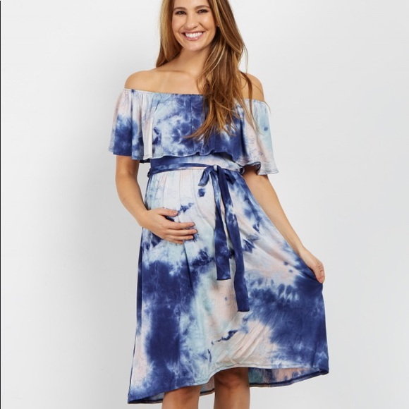 adb4ef12e035 Pink Blue Tie Dye Off Shoulder Maternity Dress